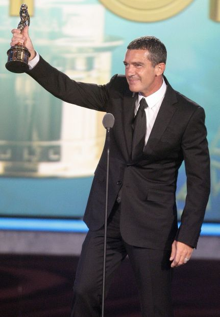 "Actor Antonio Banderas wins Favorite Movie Actor for ""You Will Meet a Tall Dark Strange"" at the ALMA Awards in Santa Monica, Calif., Saturday, Sept. 10, 2011. The 2011 NCLR ALMA Awards are held to honor those who promote ""fair, accurate and balanced"" portrayals of Latinos in the entertainment industry. The 2011 NCLR ALMA Awards are held to honor those who promote ""fair, accurate and balanced"" portrayals of Latinos in the entertainment industry. (AP Photo/Jason Redmond)"