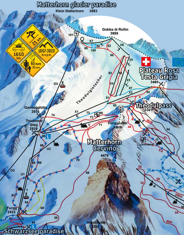 Narty w Alpach. Theodul - Szwajcaria