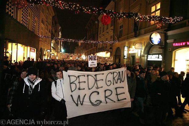 Manifestacja przeciwko ACTA w Krakowie