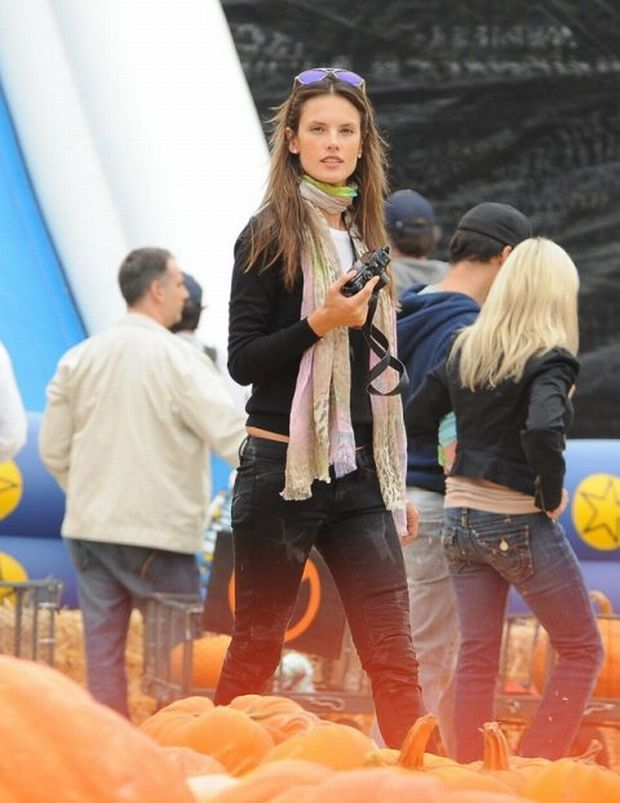 Alessandra Ambrosio and her family at Mr. Bones Pumpkin Patch in Beverly Hills, California.  Pictured: Alessandra Ambrosio