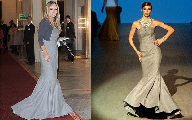 Elegancka Joanna Przetakiewicz w sukni z najnowszej kolekcji La Manii - zobacz zdjęcia