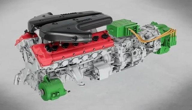 Schemat hybrydowego układu napędowego Ferrari