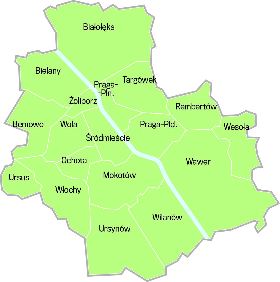mapa warszawy dzielnice Warszawa. Kto trzyma władzę w dzielnicach [MAPA]