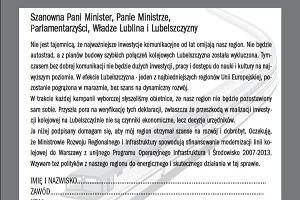 """""""Szybka kolej do Warszawy"""" - akcja """"Gazety Wyborczej Lublin"""""""