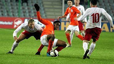 Mateusz Siebert i Leroy Fer podczas meczu U-21 Polska - Holandia