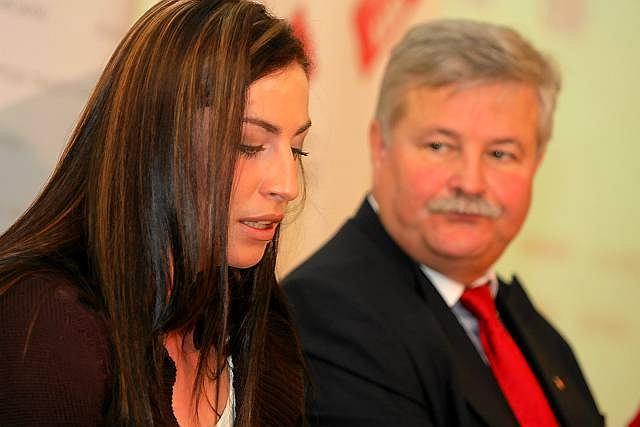 Justyna Kowalczyk i prezes PZN Apoloniusz Tajner