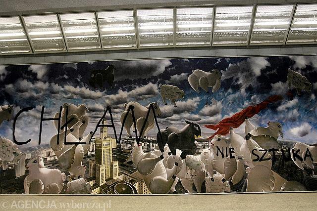 Mural z barankami w metrze pomalowany sprejem for Mural ursynow