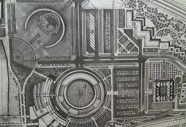 Plan Centrum Polonia in Tertio Millennio, które o. Rydzyk zamierza wybudować niedaleko Wyższej Szkoły Kultury Społecznej i Medialnej w Toruniu. Największy okrągły budynek na planie to przyszły aquapark, nad nim kościół