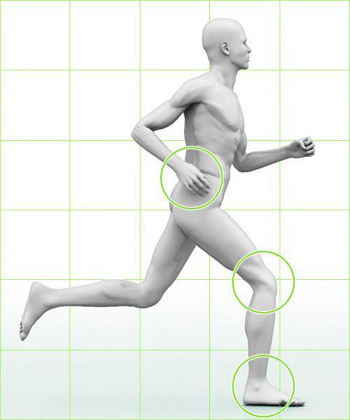 DOBRY KROK - kolano przy uderzeniu o podłoże jest zgięte, a łydka ustawiona prostopadle do ziemi; - stopa ląduje płasko; - ramiona nie przekraczają pasa