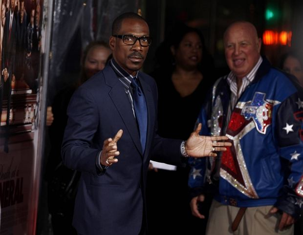 """Eddie Murphy arrives at the premiere of """"Death at a Funeral"""" in Los Angeles on Monday, April 12, 2010. (AP Photo/Matt Sayles)"""
