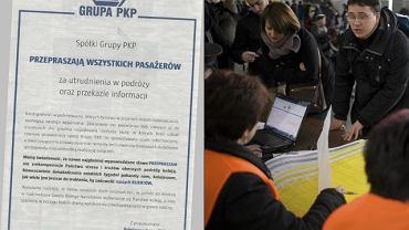Podróżni w punkcie informacyjnym na Dworcu Centralnym w Warszawie