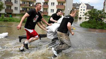 22 maja 2010. Wrocław. Umacnianie przerwanych przez powódź zapór ułożonych z worków z piaskiem na osiedlu Kozanów