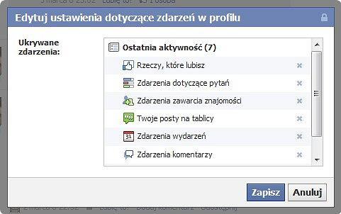 Facebook - opcje ukrywania swoich aktywności