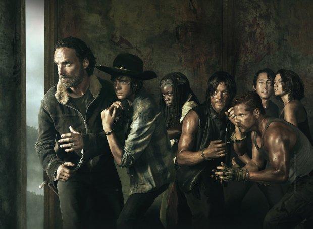 Rick i Carl Grimes, Michonne, Daryl Dixon, sierżant Abraham Ford, Glenn i Maggie