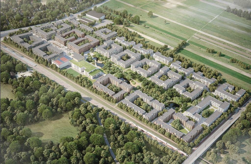 Osiedle Mieszkanie+ w Jeziorkach. Koncepcja 22 Architekci, widok z lotu ptaka. W lewym górnym roku Karczunkowska na wiadukcie nad linią kolei radomskiej
