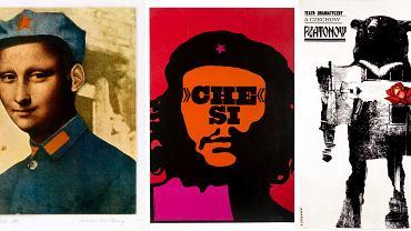 Prace Romana Cieślewicza: fotomontaż 'Mona Tse-Tung' z 1976 r.; plakat 'Che Si' z 1967 r.; plakat do spektaklu 'Płatonow' Antona Czechowa z 1962 r.