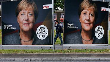 Kampania wyborcza w Niemczech. Plakaty kanclerz Angeli Merkel na frankfurckiej ulicy. 20 września 2017