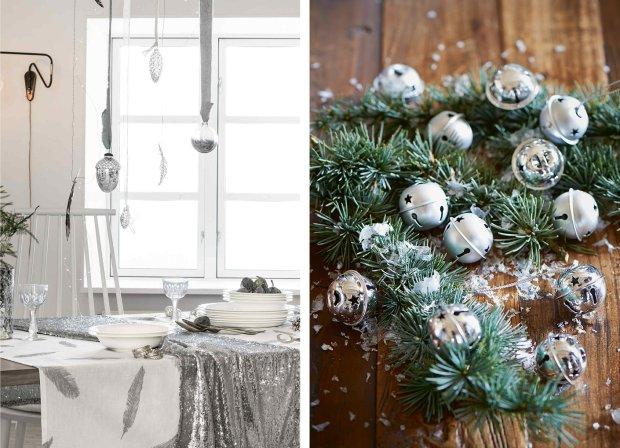 Srebrne dekoracje świąteczne