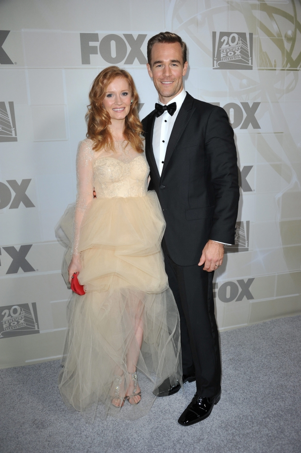 James Van Der Beek, left, and Heather McComb attends the Fox Emmy Nominee party at Soleto on Sunday, Sept. 23, 2012 in Los Angeles. (Photo by Richard Shotwell/Invision/AP)