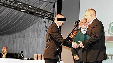 Mariusz G., szef SKOK-u Wołomin i Jacek Sasin, były minister w kancelarii prezydenta Lecha Kaczyńskiego podczas obchodów 13-lecia SKOK-u Wołomin