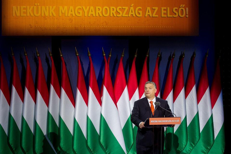 Premier Viktor Orban - przemówienie 'o stanie państwa' pod hasłem 'najpierw Węgry'. Budapeszt, 18 lutego 2018