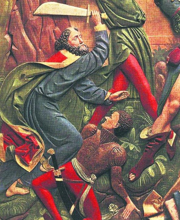 Najpewniej nie dowiemy się już, czy miecz św. Piotra z katedry poznańskiej był w posiada- niu Księcia Apostołów, ale wiele wskazuje na to, że został on wykonany w czasach rzymskich. Mieczy o takim charakterystycznym kształcie używali antyczni rybacy i sprzedawcy na targach ryb- nych. Na ilustracji: kwatera z XV-wiecznego Ołtarza Mariackiego Wita Stwosza przedstawiająca św. Piotra odcinającego mieczem ucho Malchusa. Z prawej - miecz z katedry poznańskiej.