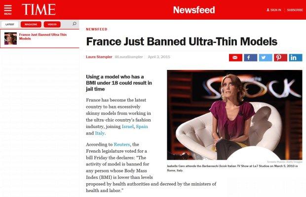 Nowe prawo Francji: za zatrudnienie ekstremalnie chudych dziewczyn i kobiet grozi grzywna oraz kara pozbawienia wolności