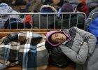 Migranci śpią przed punktem rejestracji w Serbii