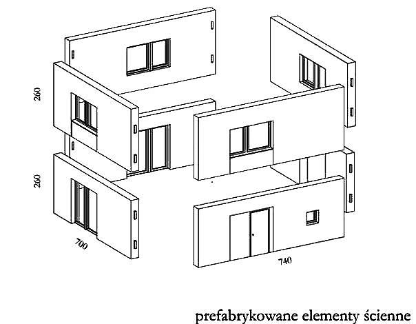Elementy prefabrykowane domu modułowego.