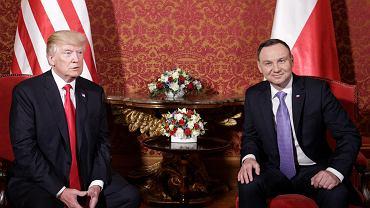Donald Trump i Andrzej Duda podczas spotkania na Zamku Królewskim
