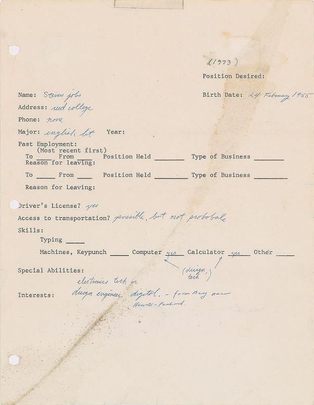 Podanie o pracę Steve'a Jobsa z 1973 roku