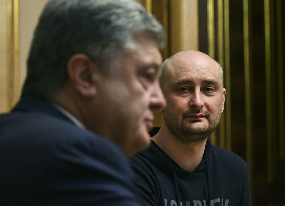 Prezydent Petro Poroszenko rozmawia z Arkadijem Babczenką