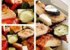 Szybka sa�atka z panierowanym kurczakiem i kozim serem