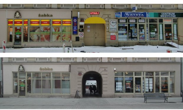 Ulica Piotrkowska w �odzi przed i po wprowadzeniu nowych standard�w