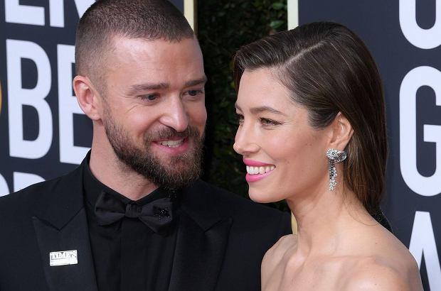 Justin Timberlake i Jessica Biel pojawili się na rozdaniu Złotych Globów. Piosenkarz nie mógł oderwać oczu od pięknej żony.