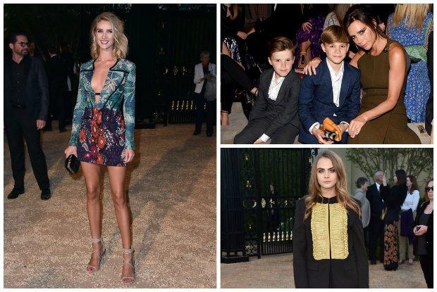 Pokaz Burberry w Los Angeles: Victoria i David Beckham z dzie�mi obok Anny Wintour, w pierwszym rz�dzie Mila Kunis, Naomi Campbell i Chiara Ferragni