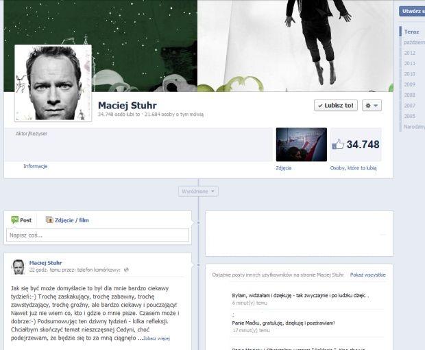 Maciej Stuhr, Facebook, Cedynia, pokłosie