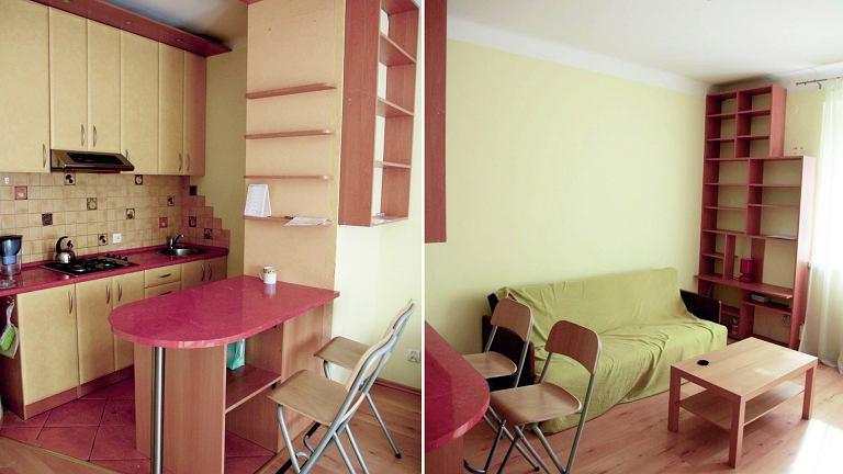 Salon z kuchnią przed metamorfozą.