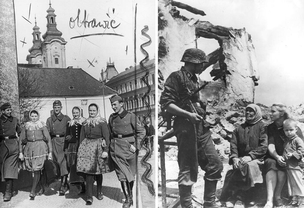 Przemoc seksualna była prawnie zakazana nawet w czasach okupacji, ale niewielu żołnierzy, którzy dopuścili się gwałtu było karanych. Na zdjęciu niemieccy żołnierze w towarzystwie kobiet w 1939 i 1943 r. (fot. Narodowe Archiwum Cyfrowe)