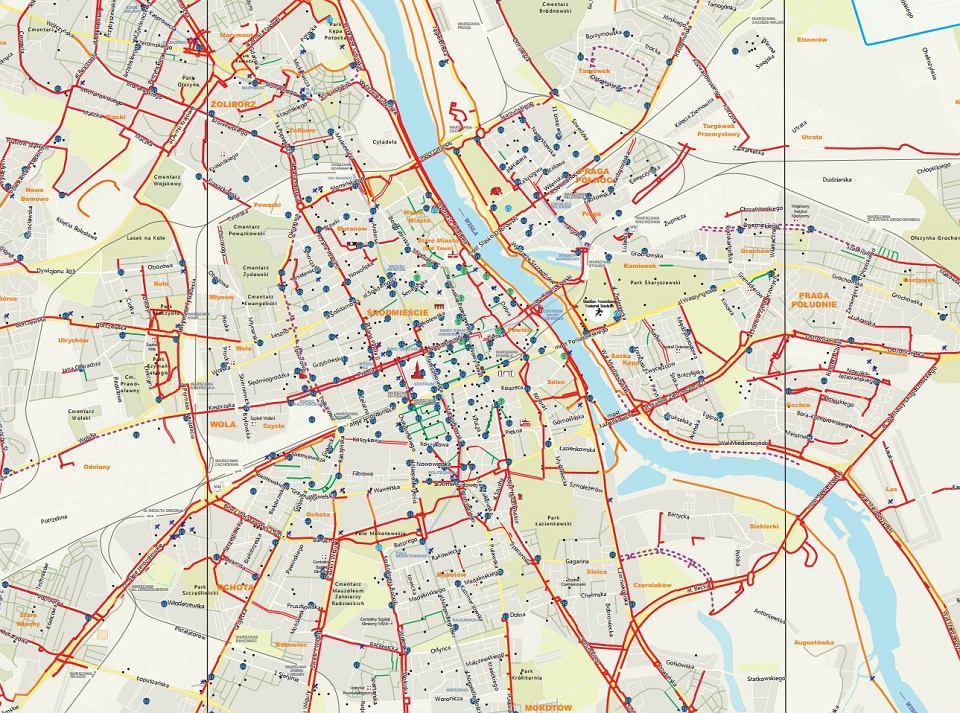 Mapa rowerowa Warszawa