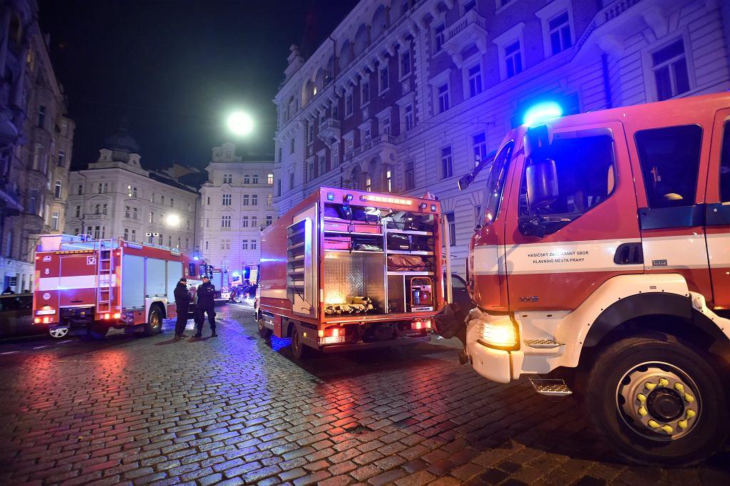 Pożar hotelu w centrum Pragi