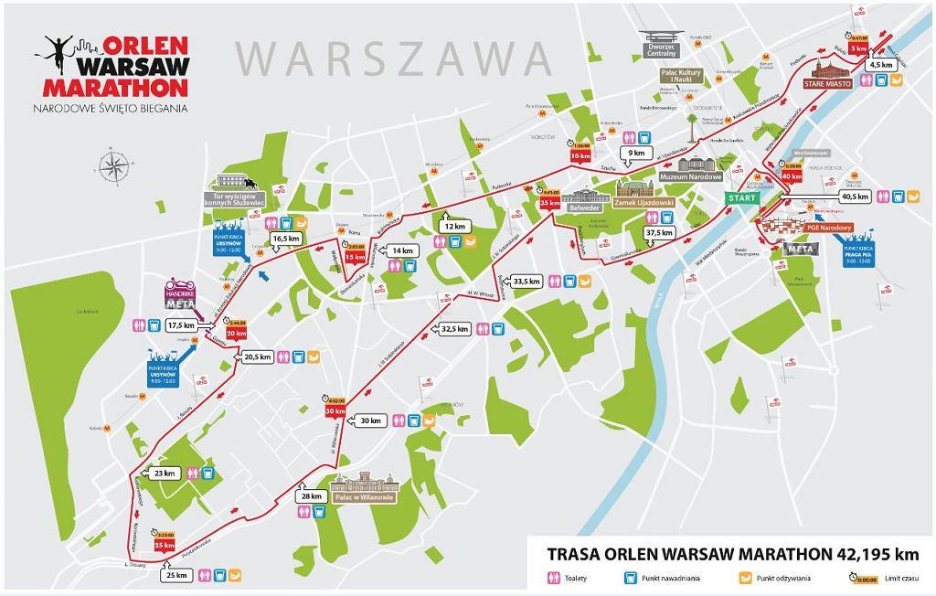 Orlen Warsaw Marathon Trasa