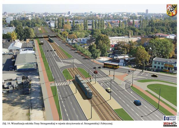 Tramwaj na Nowy Dwór - wizualizacja skrzyżowania ul. Strzegomskiej i Fabrycznej. Tak zgodnie z pierwotną koncepcją z 2006 r. miało wyglądać torowisko na Nowym Dworze