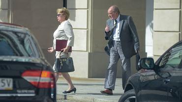 Pierwsza sędzia Sądu Najwyższego Małgorzata Gersdorf i sędzia Józef Iwulski pod Pałacem Prezydenckim, Warszawa 3.07.2018