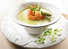 Kremowa zupa ze szparagów z krewetkami - ugotuj