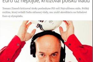 Słowacki dziennik pisze o Zimochu. 'Nie pojedzie na Euro, bo krytykował władzę'