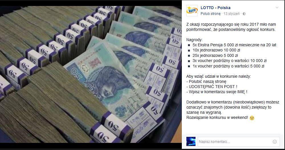 Fałszywy profil 'Lotto - Polska'