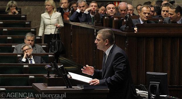 Bartosz Arłukowicz podczas debaty nad wnioskiem o wotum nieufności dla niego