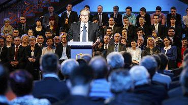 Europoseł Jacek Saryusz-Wolski podczas konwencji Platformy Obywatelskiej w Łodzi