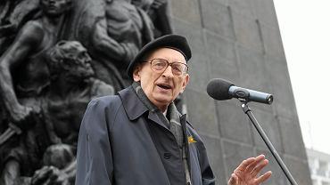 Prof. Władysław Bartoszewski podczas 72. rocznicy wybuchu powstania w getcie warszawskim, kwiecień 2015